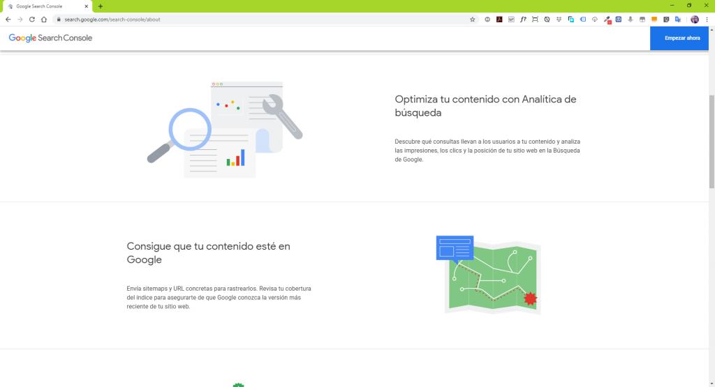 página de inicio de search console