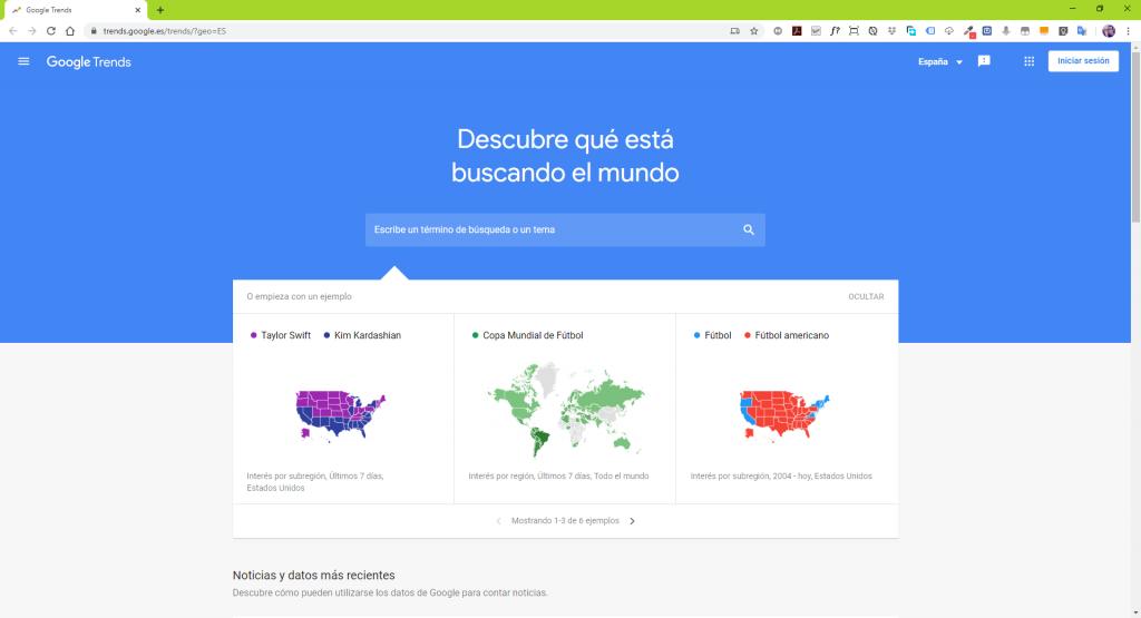 página inicio de google trends